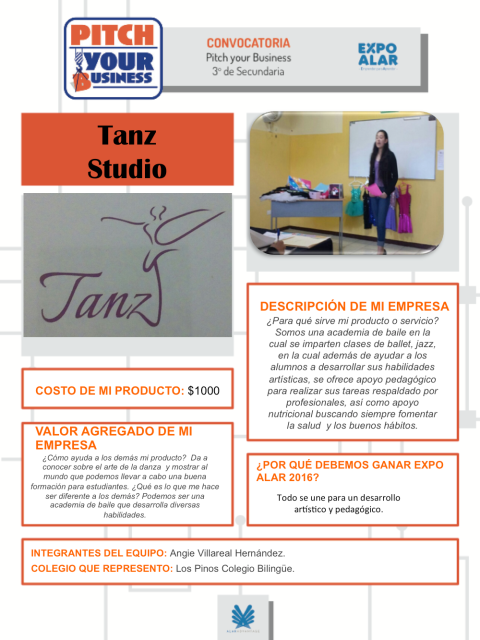 PLANTILLA PITCH YOUR BUSINESS TANZ STUDIO COLEGIO LOS PINOS